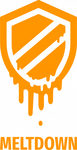 Meltdown logo as a shield melting down